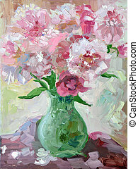 Etude oil painting peonies in a vase