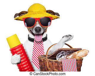 holiday dog with thermos and basket ready for picnic