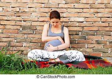 mulher, jovem, grávida