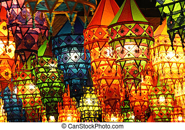 Colorful lanterns at a traditional festival in China (manual...