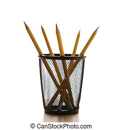 Pencils in holder - Five pencils in a wire mesh pencil...
