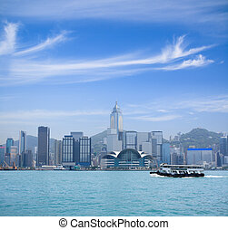 Hong Kong scenery - hong kong victoria harbor against a blue...