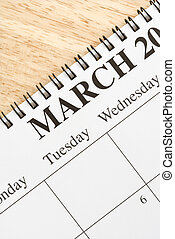 March on calendar - Close up of spiral bound calendar...