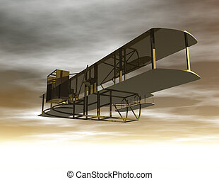 Biplane - Digital Illustration of a Biplane
