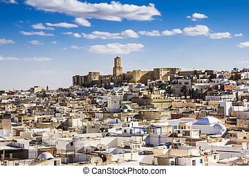 View of the Medina and the castle kasbah of Tunisia in...