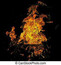 Burning Dollar - Digital Illustration of a burning Dollar