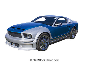 blue and silver muscle car - modern blue and silver muscle...