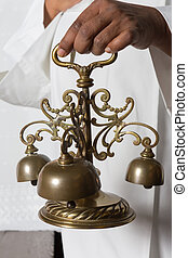 Consecration, sinos, durante, santissimo, massa
