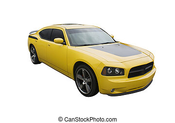 modern yellow musclecar - modern sedan muscle car isolated...