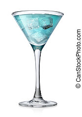 Blue cocktail with ice cubes in a high glass isolated on a...