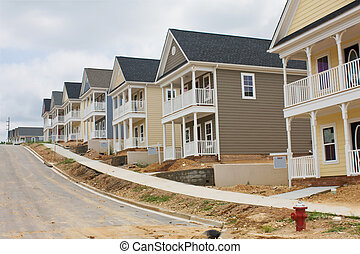 colorful row houses - newly constructed colorful row houses...