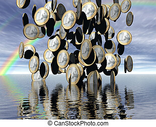 euros - digital visualization: it´s raining money