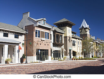 upscale shopping plaza - mixed architecture styles...