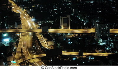 Car traffic in the night city