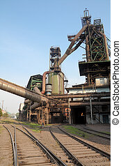 blast furnace and railway - metallurgical furnace in the...
