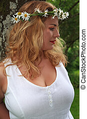 summer Dreams - Blonde girl with big breasts leaning against...