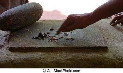 Making mixture of spices - old way - Video 1920x1080 -...