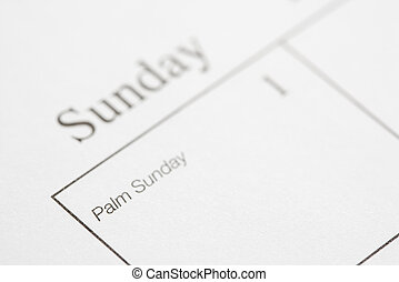 Palm Sunday - Close up of calendar displaying Palm Sunday