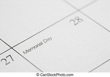 Memorial Day. - Close up of calendar displaying Memorial...