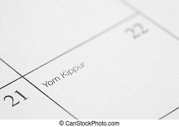 Yom Kippur. - Close up of calendar displaying Yom Kippur.