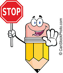 Pencil Holding A Stop Sign - Pencil Cartoon Mascot Character...