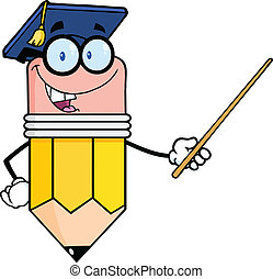 Pencil Teacher With Graduate Hat