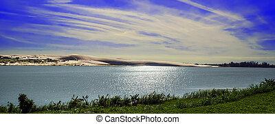 Sun Under White Sand Dunes - Sun Under White Sand Dunes near...