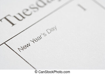 New Years Day. - Close up of calendar displaying New Years...