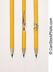 Pencils on white background. - Whole pencil, broken pencil...