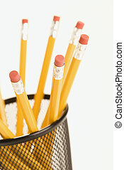 Pencils in holder. - Group of pencils in a pencil holder...
