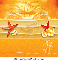 Summer background banner set - Summer orange background...