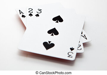 Playing cards - French playing cards over a white background