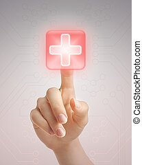 Hand pushing medical button - Hand pressing virtual button...