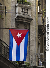 Cuba national flag in Havana