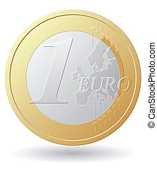 one euro coin vector illustration isolated on white...