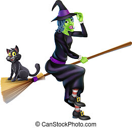 Halloween Witch on Broomstick with Cat - An illustration of...