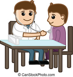 Doctor Check Up Patient - Drawing Art of Cartoon Doctor...