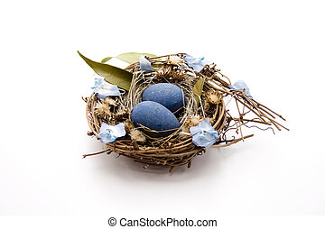 Bird nest with plant leaf on white background