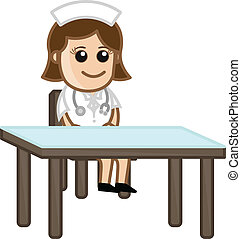 Nurse in Clinic - Medical Cartoon - Drawing Art of Cute Lady...