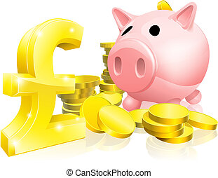 Pound sign piggy bank - Illustration of a pink piggy bank...