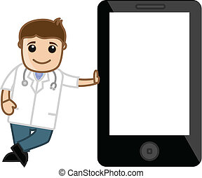 Mobile Presentation Cartoon Doctor - Drawing Art of Cartoon...