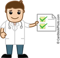 Doctor Showing Medical Report - Cartoon Doctor Character...