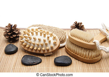 Backs and massage brush with stones