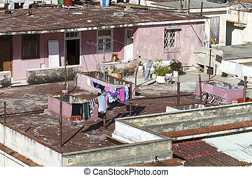 Laudry on the roof of a home in Havana, Cuba