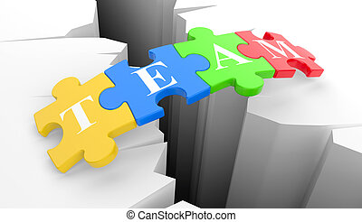 teamwork concept - Puzzles over a precipice in the form of...