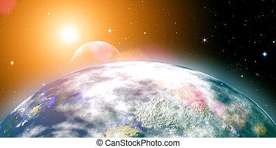Risins, sol, sobre, planeta, terra, abstratos, fundos,...