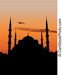 Blue Mosque in Istanbul - Silhouette of the Sultan Ahmed...