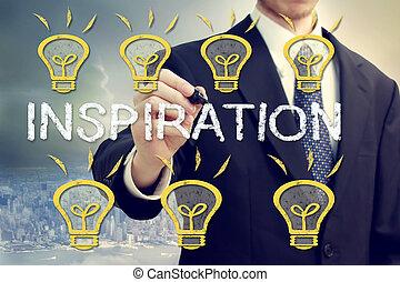 Businessman with idea light bulbs