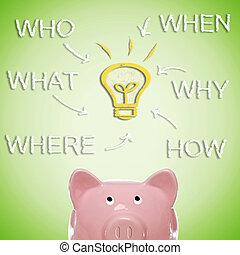 Piggy bank strategy brain storm - Piggy bank with idea light...