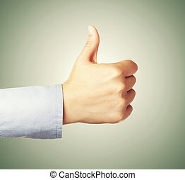Thumbs Up! - Giving thumbs up or like on green background